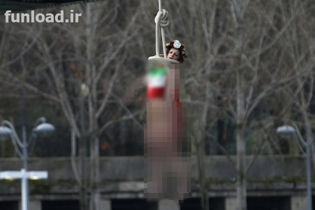 A feminist woman naked to protest Hassan Rouhani